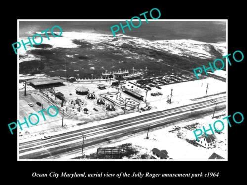 OLD 6 X 4 HISTORIC PHOTO OF OCEAN CITY MARYLAND, JOLLY ROGER AMUSEMENT PARK 1964