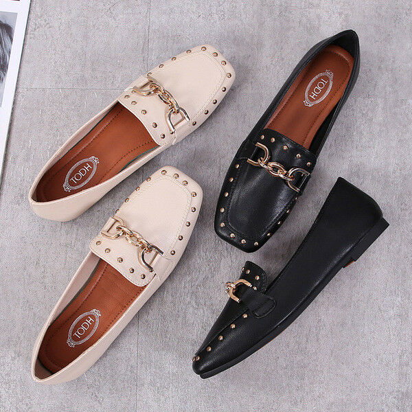 Ballerines mocassins chaussures pour femmes élégant blanc noir confortable comme