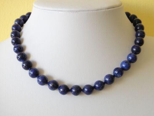 "Blue Lapis Lazuli Necklace 10mm Lapis Beads 18/"" Necklace Hand Knotted Deep Blue"