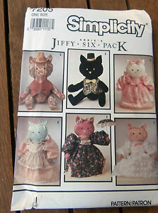 Oop-Simplicity-7205-Abbies-Jiffy-6-pack-Kittys-Cats-Stuffed-toy-clothes-18-034-NEW