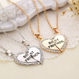 Best-Friend-Heart-Silver-Gold-Rhinestone-2-Pendants-Necklace-Bff-Friendship-Gift