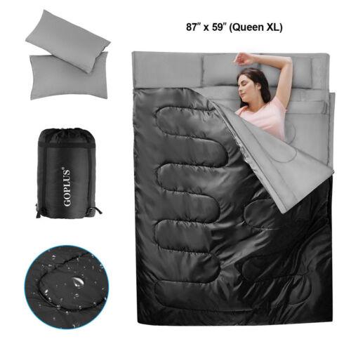Saco de Dormir Impermeable Para 2 Personas con 2 Almohadas Saco de Dormir Doble