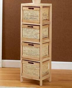 Image Is Loading Natural Wood Storage Unit Tower Amp Drawer Baskets