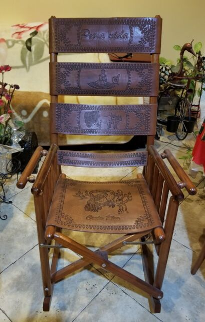 Estate Genuine Costa Rica Leather Wood Rocking Chair Brown Great Condition