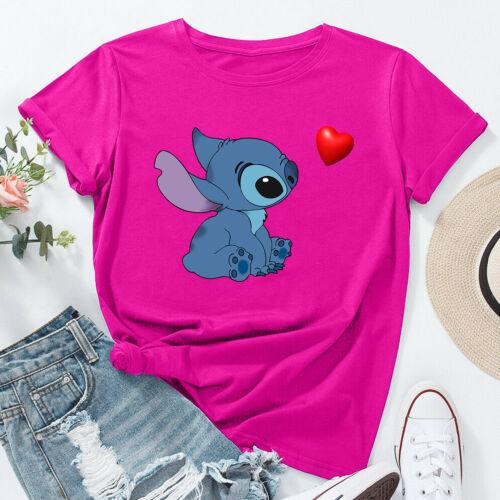 Disney Heart Lilo and Stitch Ohana Xmas Gift Top Unisex Ladies T Shirt 2275 #D#E