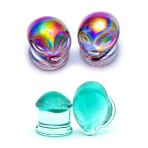 Green Alien Face Ear Plugs Tunnels  Pyrex Glass Double Flare Set Of 2