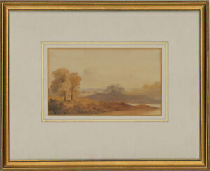 Framed-Mid-19th-Century-Watercolour-Landscape-with-Distant-Church