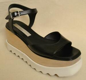 Details about Stella McCartney Vegan black leather wood platform high heel pumps 37 7 US