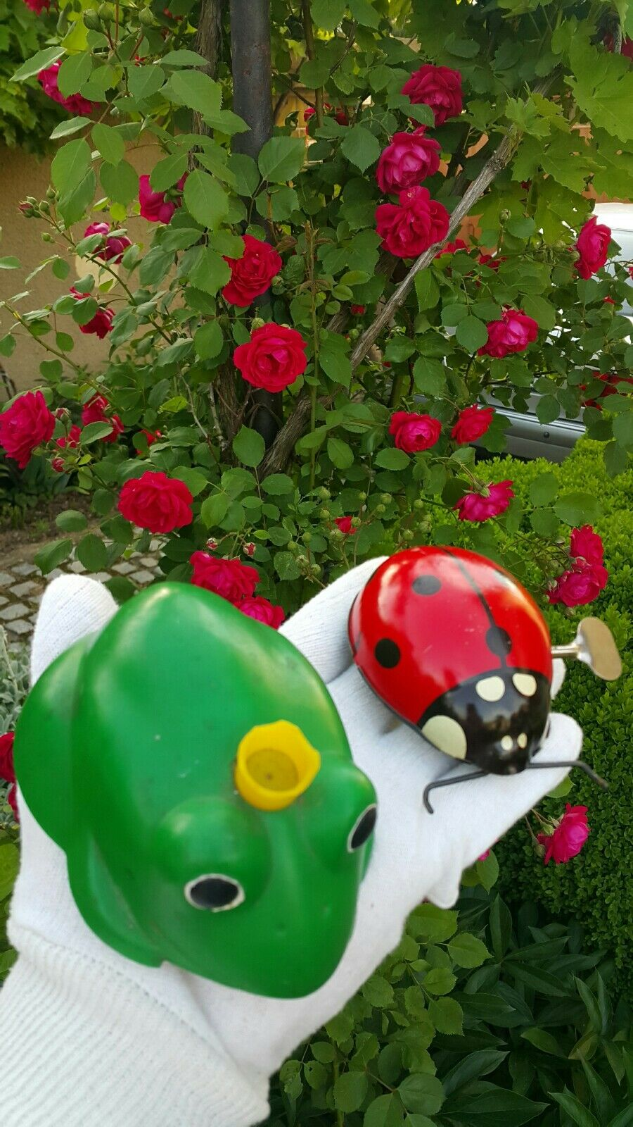 VINTAGE FROG AND LADYBUG TIN TOY FRICTION WIND UP RUSSIA USSR SOVIET CCCP РСФСР