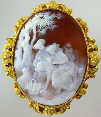 Incredible Victorian Museum Quality 18K Gold Pastoral Shell Cameo Rococo Brooch