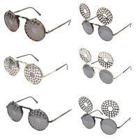 VTG Style Steampunk Flip Sunglasses Round Metal Clockwork Victorian Goggles
