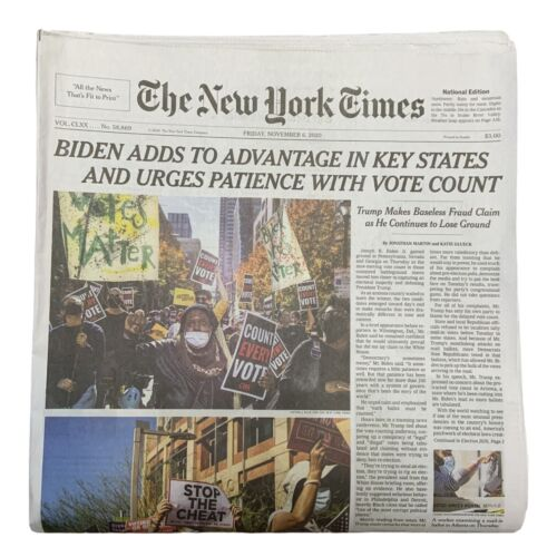 New York Times Newspaper Fri November 6 2020 ELECTION 2020 Insert Counties Voted