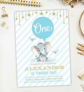 Image Is Loading Baby Elephant First Birthday Invitation Blue Gold Boy