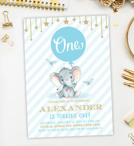 Details About Baby Elephant First Birthday Invitation Blue Gold Boy Party Invite Twinkle Star