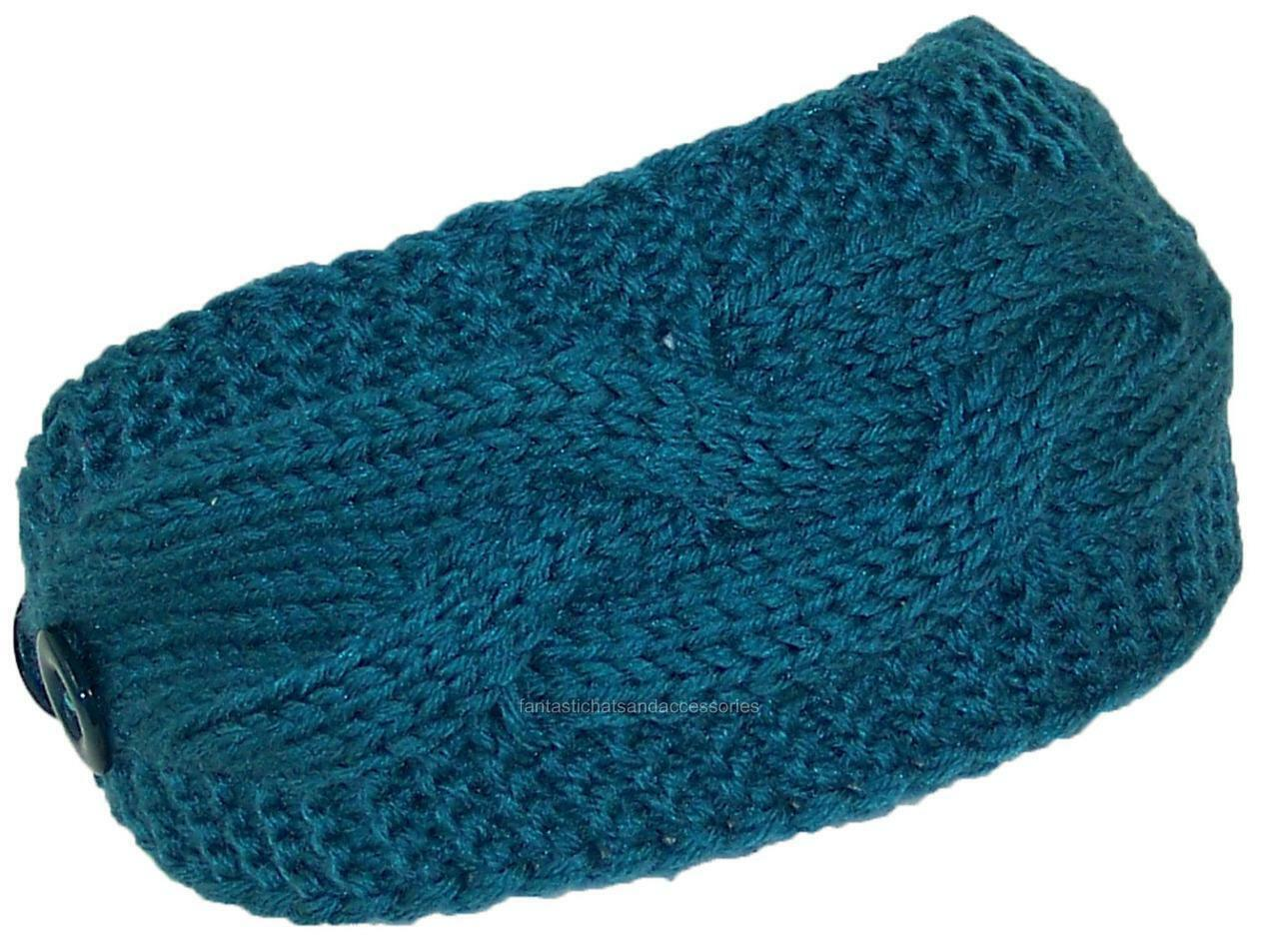 Best Winter Hats Solid Color Cable & Garter Stitch Knit Headband - Teal