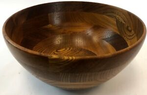 Vintage-9-5-034-Handmade-Turned-Maple-Natural-Hard-Wood-Mixing-Chip-Salad-Bowl