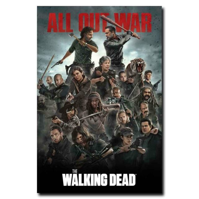 The Walking Dead Full Cast All Out War 12x18inch TV Shows Silk Poster Hot