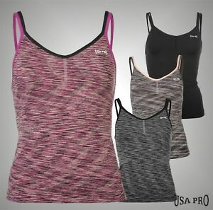56dd2a67497a0 Ladies Branded USA Pro Double Straps Seamless Workout Tank Top Vest ...