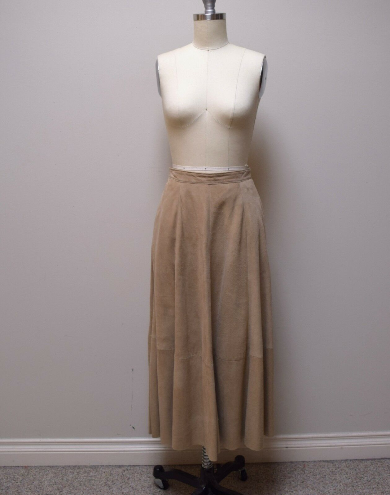 ONE + ONE Beige Sand Goat Suede Flared Full Mid Calf Skirt Size XS