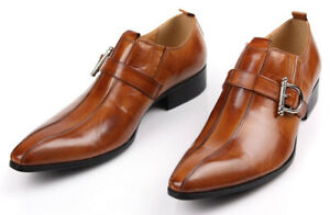 Mens-Genuine-Leather-Dress-Shoes-Formal-Business-Buckle-Oxfords-British-Style
