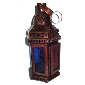 Moroccan Candle Holder Lantern Blue Amp Red Glass Tealight