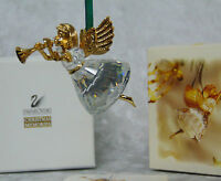 NEW Swarovski Crystal ANNUAL ANGEL Christmas ORNAMENT Gold Horn 211085 FIGURINE!