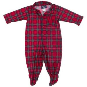 fc7adef406d7 Lanz of Salzburg Red Plaid Footed Sleeper Pajamas for Baby Boys Size ...