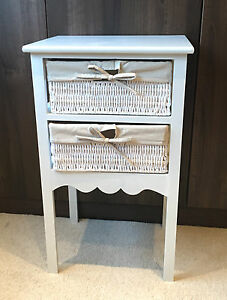 Small White Bedside Table Shabby Chic Drawer Wicker Storage Basket