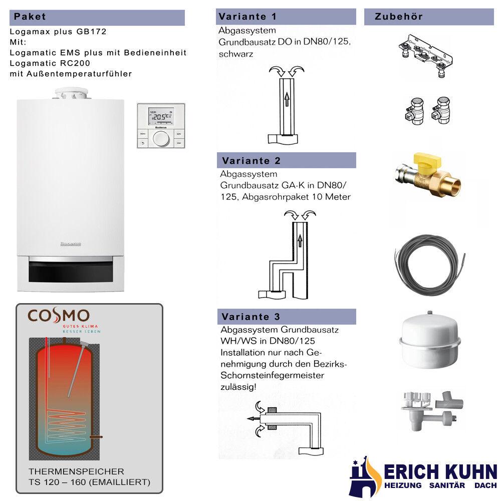 Buderus GB 172 Paket mit Speicher und Abgas 20 kW / GAK Ab./ 160L Cosmo Speicher