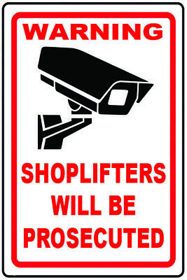 2 x Shoplifters will be Prosecuted Sticker Signs Static Cling or Self Adhesive