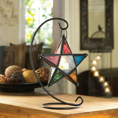 Iron Metal Lantern Stand Hanging Candlestick Glass Globe Candle Ornament Holder