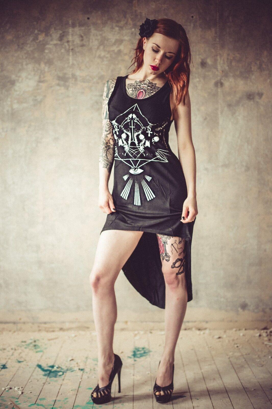 Voodoo Vixen Kleid Hängerchen schwarz Gr. S M L XL Gothic Alternativ Katzen