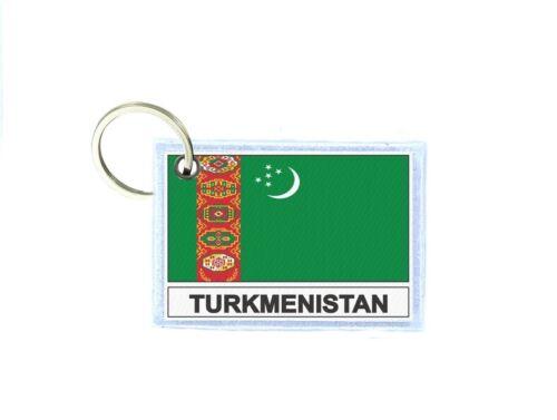 Porte cles cle clefs imprime double face drapeau TM turkmenistan