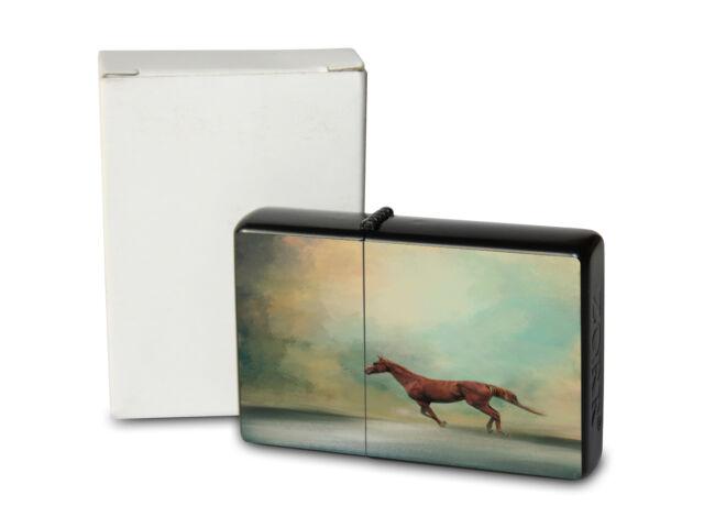 Pocket Windproof Lighter Brushed Oil Refillable Horse