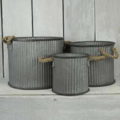 GRANDE rotonda decorativa in metallo zincato fioriere vasca per Piante Vaso di fiori da giardino