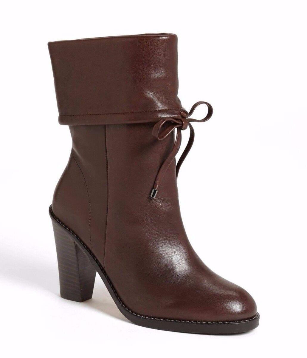 Nina Originals 'Paloma' plegable de cuero marrón sobre Brazalete mitad de la Pantorrilla botas Sz 6 Nuevo