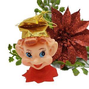 Vintage PIXIE Ornament Light Covers 50s MCM Japan Mid Century Elf GOLD HAT