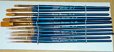 Major Brushes synthetic red sable set of 10 paint brush artist oil painting