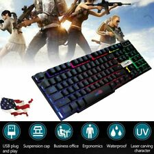 Chezaa Computer Keyboards,Colorful Crack LED Illuminated Backlit USB Wired Gaming Keyboard