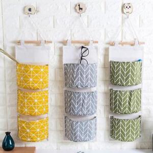 Wall-Hanging-Storage-Bag-Linen-Organizer-Pouch-Closet-Door-3-Pockets-Pocket-DB