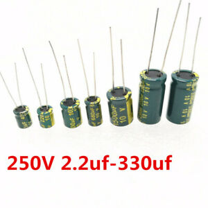 250V-Low-ESR-high-frequency-aluminum-capacitor-2-2-10-22-15-100-220-330-UF