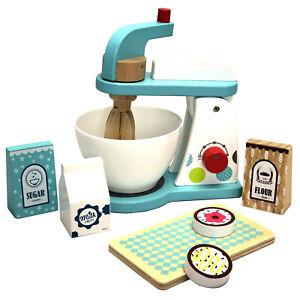 Küchenmaschine Mixer-Set aus Holz mit Zubehör Kinderküche Spielküche Zubehör Neu