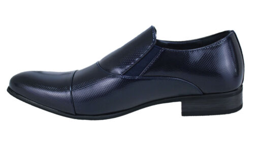 Ecopelle In Uomo Cerimonia Eleganti Man's Vernice Scarpe Lucido Shoes Class Blu zcTwqTfZR
