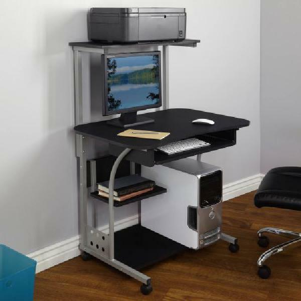 Genial Mobile Computer Tower With Shelf Black Study Hall Table Laptop Station |  EBay