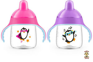 Avent-Penguin-Sippy-Cup-Spout-Cup-9-oz-9m-PInk-amp-Violet-2-Pack-BPA-Free