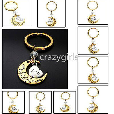 New Chic Family I LOVE YOU TO THE MOON AND BACK keychain Key Ring Set Gold Style