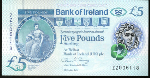 ZZ REPLACEMENT 2017 Bank of Ireland Belfast £5 five pound banknotes new polymer