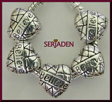 5 Believe Heart Charm Spacer Beads 11x11 & 5 mm hole Fits European Jewelry S014
