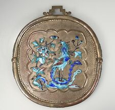 Antique Chinese Enameled Hanging Mirror -Dragons & Phoenix