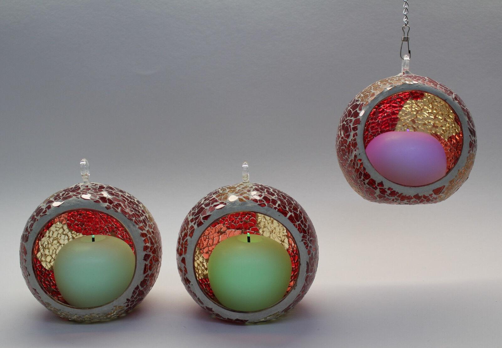 ELAMBIA Flammenlose Minikugelkerzen mit Mosaikkugeln zum Aufhängen 6-tlg Rot FW | Niedriger Preis und gute Qualität